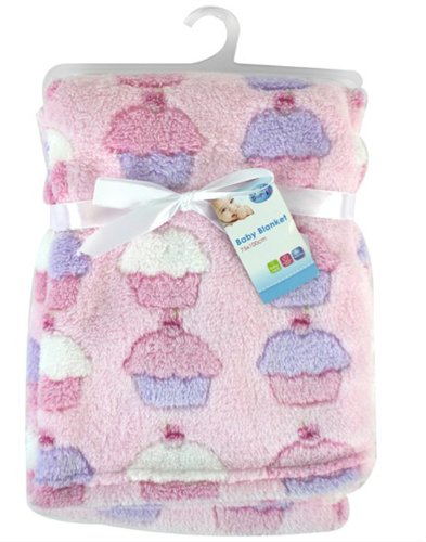 Rsw First Steps - Coperta in pile morbida con cupcake, 75 x 100 cm, per bambini e neonati