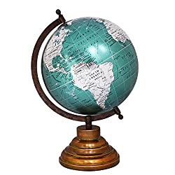 EnticeSelections Antique Handicrafted Big Desktop Rotating Globe Earth Geography World Globes Ocean Table Decor 8 Inch