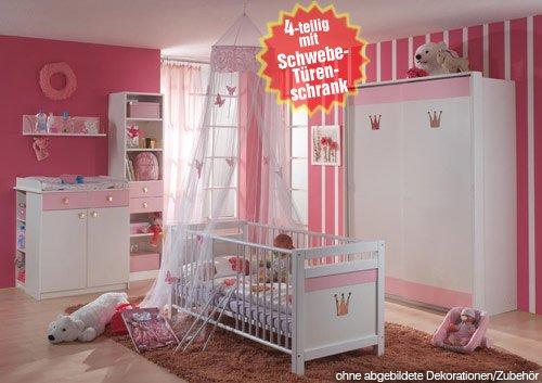Babyzimmer 4-tlg. in Apinweiß/Rose, Schrank B: 139 cm, Regal B: 47 cm, Kinderbett inkl. Lattenrost 70 x 140 cm, Wickelkommode B: 91 cm