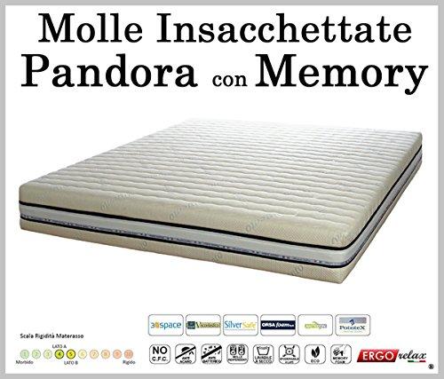 Materasso Molle Insacchettate Mod. Pandora con Memory Sfoderabile in Argento - ErgoRelax - singolo - 80 cm x 200 cm