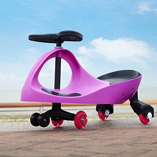 Fascol Scooter giocattolo Auto Serpeggiante Monopattino Macchinina cavalcabile Twist & Roll Monopattino con PU Flashing Ruote Per bambini rosa