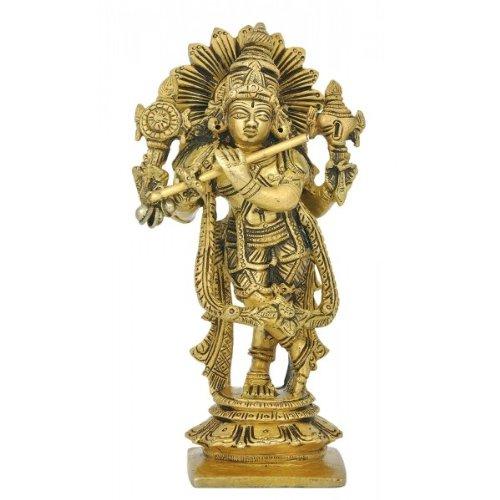 """Redbag Lord Shri Krishna - Brass Idol ( 5.50""""H X 3""""W )"""