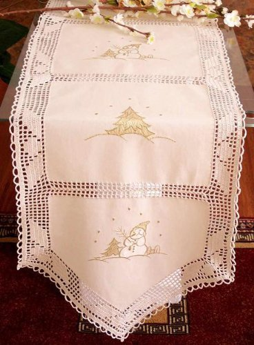Christmas Crochet with Snowman Embroidery Table Cloth / Runner 15x72