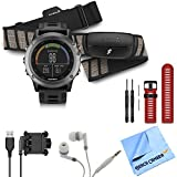 fenix 3 Multisport Training GPS Watch with Heart Rate Monitor Red Band Bundle includes fenix 3 Gray watch with black band, HRM-Run monitor, red watch band, USB cable, noise isolation headphones and micro fiber cloth