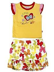 Littleopia Baby Girls' Dress (L01-1212 - 014A-B_Yellow White_3-6 Months)