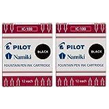 Pilot Namiki IC100 Fountain Pen Ink Cartridge, Black, 12 Cartridges per Pack (Pack of 2)