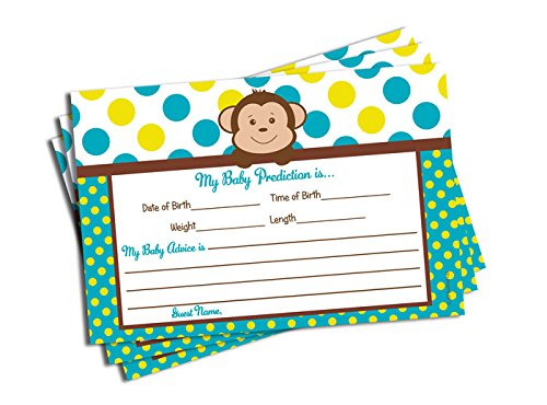 Baby Shower Advice & Prediction Cards for Mom Mod Monkey Games (50-cards) - 1