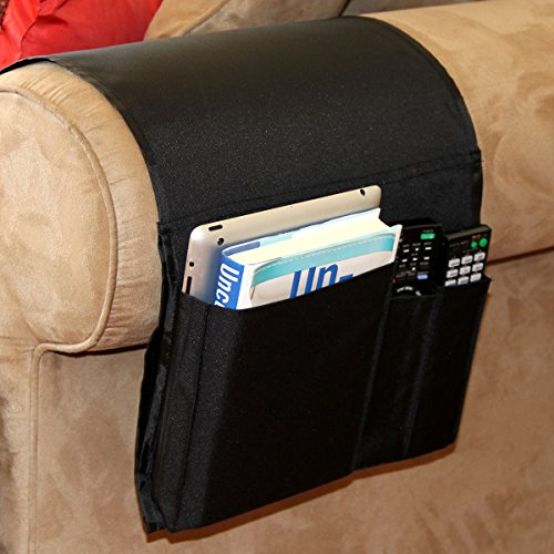 Sofa Couch Chair Armrest Caddy Pocket Organizer Great for Ipad , Remote, Game Controller , Newspaper , Book , Magazine Holder , Black