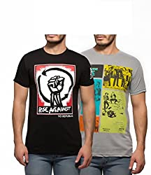 Yo Republic Mens Cotton Tshirt Combo Offer (Pack of 2)(AT-0048-1S_Black_Grey_Small)