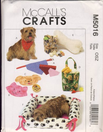 McCall's M5016 or 5016. Dog Bed; Kerchiefs; Toys; Treat Bag. Hard to Find, Discontinued Pattern