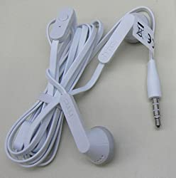 HTC 39H00004-02M White 3.5mm Flat Tangle Free Cord Stereo Headset with On/Off Button and Mic for HTC One X One S One V Droid Incredible 4G EVO 4G