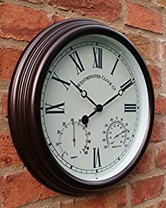 outdoor garden wall clock with temperature and humidity roman numerals