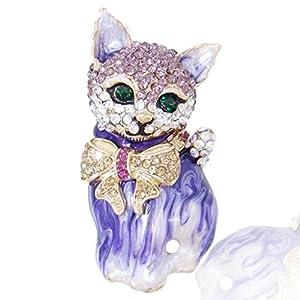 Generisches österreichisches Kristall Schmelz Modern Elegant Fliege Schleife Katze Brosche Modesschmuck Lila Gold-Ton N03051-6