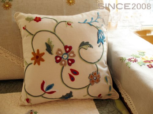 Woollen Embroided Flowers vine Cushion Cover/Pillow
