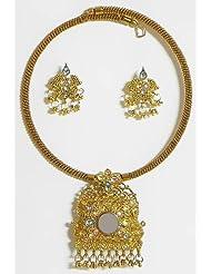 Oxidised Metal Spring Necklace With Earrings - Metal - B00K4F3P0S