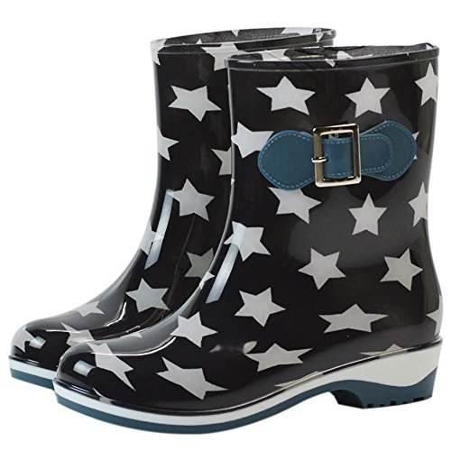 Da donna impermeabile in gomma antiscivolo Rain Boot Fibbia Caviglia Alta pioggia Scarpe, donna, Stars, 6 B(M) US