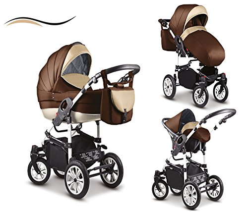 16-teiliges-Qualitts-Kinderwagenset-3-in-1-Mikado-COSMO-Kinderwagen-Buggy-Autokindersitz-Schwenkrder-Mega-Ausstattung-all-inclusive-Paket-in-Farbe-C-7-MOCCA-BRAUN-WEISS