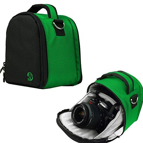 VanGoddy Laurel Custodia Borsa in Poliestere con Tracolla per Fotocamera Borsa Messenger per SLR DSLR Reflex Bridge Fotocamere (Verde Scuro)