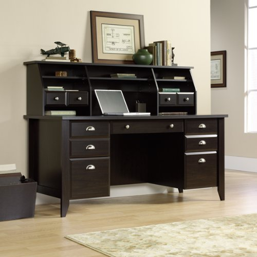 Buy Low Price Comfortable Jamocha Espresso Executive Computer Desk w/ Organizer Hutch (B003FN325O)