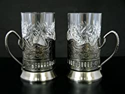 Combination of 2 Russian CUT Crystal Drinking Tea Glasses W/metal Glass Holders 'Podstakannik' for Hot or Cold Liquids