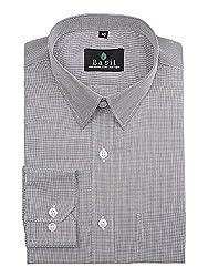 Basil Men's Poly Cotton Formal Shirt (BA380PLC42FSF-40, Grey, 40)