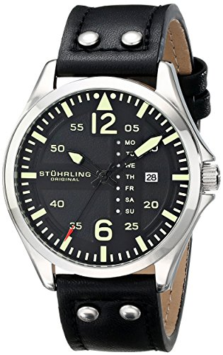 """Stuhrling Original Men'S 699.01 """"Aviator"""" Stainless Steel Watch With Black Leather Band"""