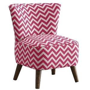 Skyline Furniture Mid Century Modern Chair in Zig Zag Candy Pink