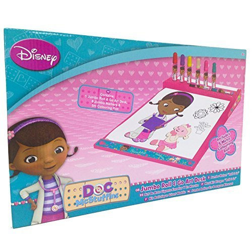 Doc Mcstuffins Jumbo Roll & Go Art Desk Colouring Activity Set Toy
