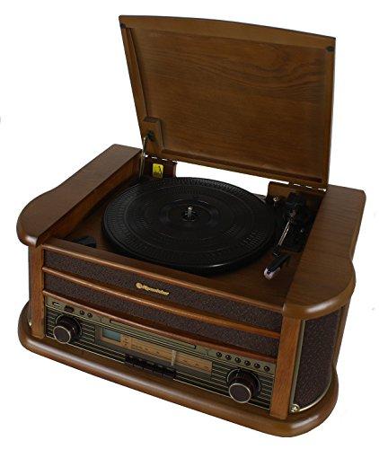 HIF-1899 Retro Stereo-Anlage mit Plattenspieler, Kassette, CD-Player und Radio (UKW / MW, CD / MP3, USB, beleuchtetes LCD-Display, Fernbedienung, 40 Watt Musikleistung), braun