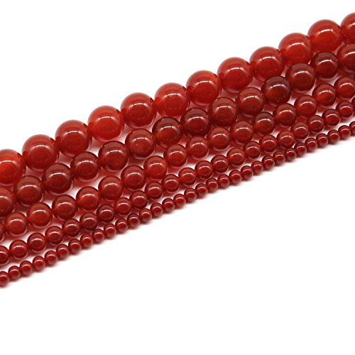 JarTc Natural AAA Quality Red Agate Fire Quartz Gemstone Gem Round Loose Beads for Jewelry Making (4mm)