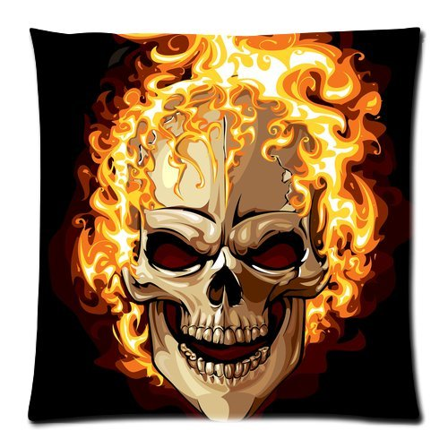 Personalized Fashion Art Skull Picture Throw Pillow Cover Cushion Case 18X18 (One Side) front-13343
