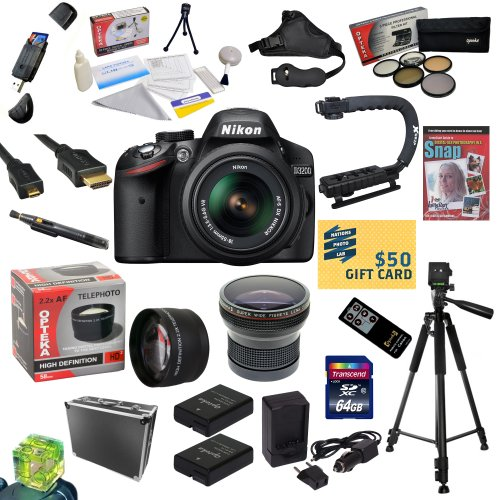 #!  Nikon D3200 Digital SLR Camera with 18-55mm NIKKOR VR Lens With All Sport Accessory Package: 32GB High-Speed SDHC Card + Card Reader + 2 Extra Batteries + Battery Charger + Opteka HD² 0.20X Wide Angle Fisheye Lens + 2.2x HD² AF Telephoto Lens + 5 Piece Pro Filter Kit (UV, CPL, FL, ND4 and 10x Macro Lens) + HDMI Cable + Hard-Sided Pro Case + Wireless Remote Control + Professional 60