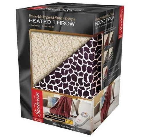 Heated Sherpa/Plush Electric Throw (Giraffe)