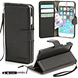 Genuine Madcase Apple iPhone 6 Premium Leather Wallet Credit card holder cover case including Stand function, Screen protector and Stylus Pen - Black
