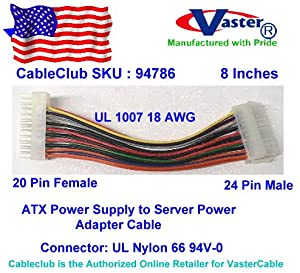 VasterCable, ATX Power Supply to Server Power Cable, 20 M - 24 F, 8 Inches