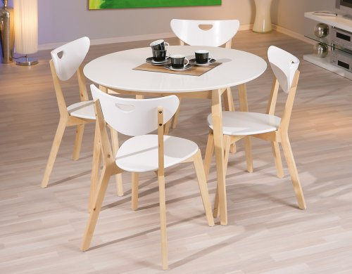 Table laque blanche pas cher for Ensemble table ronde 4 chaises