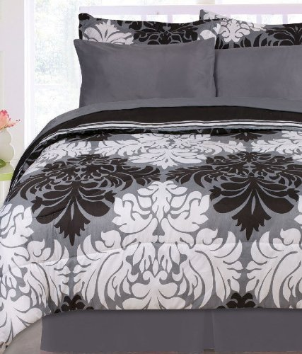 Moana Reversible Bed In A Bag- Black/ White/ Gray With Sheet Set (Twin) front-189828