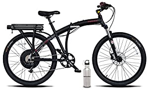Prodeco V5 Phantom X2 8 Speed Folding Electric Bicycle, Matte Black, 26-Inch/One Size W/ SafeCastle SS Bottle by Prodeco Technologies