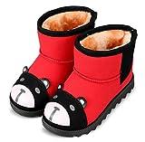 (ダダウン)DADAWEN  子供ブーツ スノーブーツ 男女兼用 男の子 女の子 ショートブーツ 熊柄 可愛い 裏ボア 保温 防寒 雪の日 柔らかい 滑り止め 三五七 通学 通園 発表式 結婚式 レッド 15CM