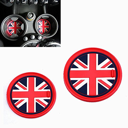 iJDMTOY (2) 73mm Red Union Jack UK Flag Style Soft Silicone Cup Holder Coasters For MINI Cooper R55 R56 R57 R58 R59 Front Cup Holders (British Car Mats compare prices)