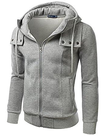 Doublju Mens Terry Zip-up Hood Slim fit Jacket,160D_Lightgray,Medium / US Small