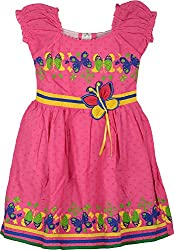 Mathudi Girls' Frock (8041_4-5 yrs, Dark Pink, 4-5 Years)