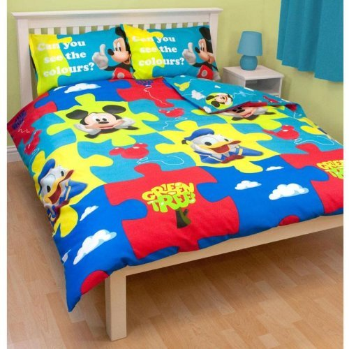 Mickey Mouse 'Puzzled' Rotary Double Duvet Cover And Pillowcase Set front-785661