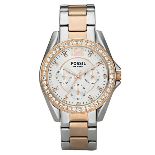 Fossil Chronograph Riley Two Tone Ladies Watch ES2787 Wrist Watch (Wristwatch)