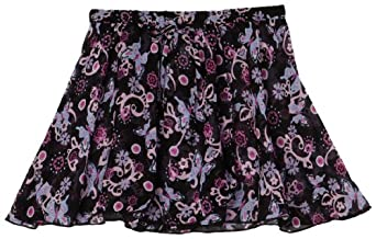Capezio Little Girls' Print Pull-On Skirt, Black Butterfly, Small (4-6)