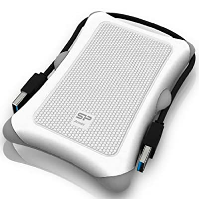 Silicon Power SP Rugged Armor A30 1TB Shockproof 2.5-Inch USB 3.0 External Portable Hard Drive - White (SP010TBPHDA30S3W...