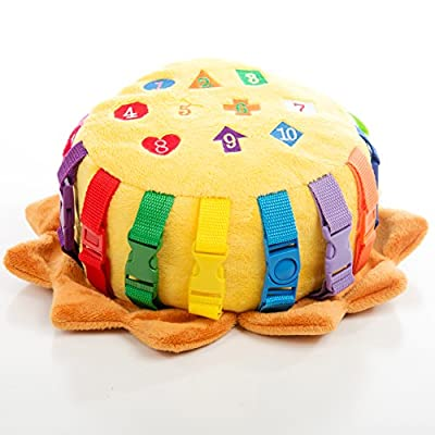 """BUCKLE TOY """"Benny"""" Lion Bag - Toddler Early Learning Basic Life Skills Children's Plush Travel Activity from Buckle Toy Inc"""