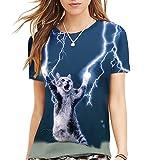 (シーファニー)Cfanny レディース メンズ 可愛い 3D 猫柄 プリント ユニセックス Tシャツ