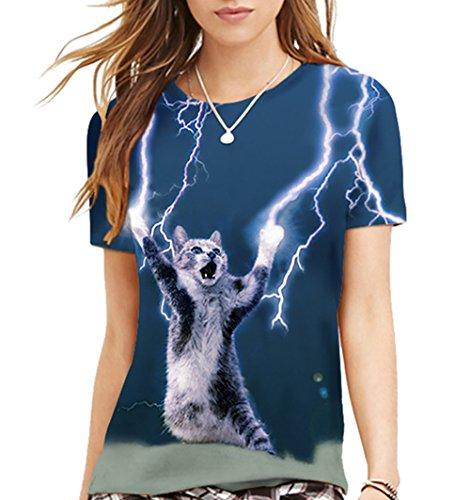 (シーファニー)Cfanny レディース メンズ 可愛い 3D 猫柄 プリント ユニセックス Tシャツ ,雷,S/M