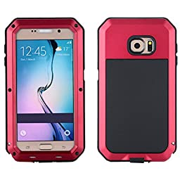 I3C Waterproof Shockproof Aluminum Gorilla Glass Metal Case Cover For Samsung Galaxy S6 - Red